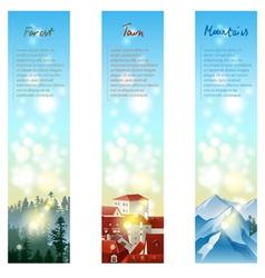 3 landscape banners vector image