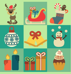 christmas decoration icons elements vector image