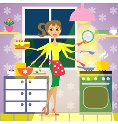Kitchen woman cuisine vector