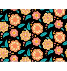 Seamless spring flower pattern on black background vector image
