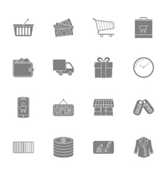 Shopping silhouettes icons set vector