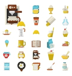 Breakfast flat color icons set vector