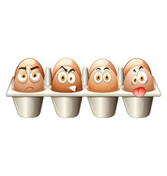 Different emotions eggs in cart vector