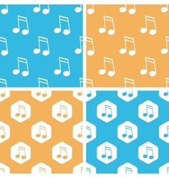 Sixteenth note pattern set colored vector