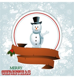 Christmas border with snowman vector