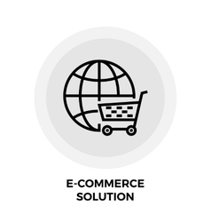 E-commerce solution line icon vector