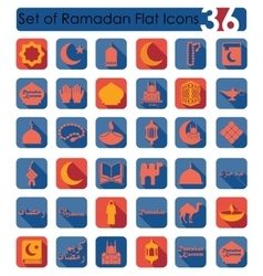 Set of ramadan flat icons vector
