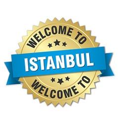 Istanbul 3d gold badge with blue ribbon vector