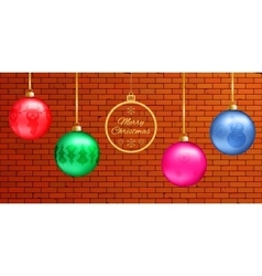 Banner with colorful 3d glass balls with figures vector image vector image