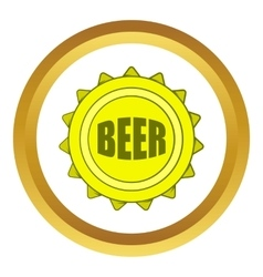 Beer bottle cap icon cartoon style vector