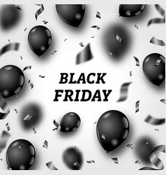 Black friday poster with shiny balloons and vector