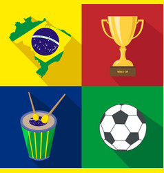 Brazil sun drum cup soccer summer time vector