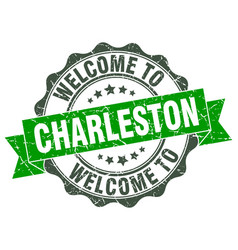 Charleston round ribbon seal vector
