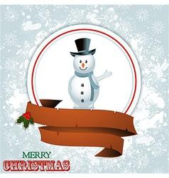 Christmas border with snowman vector