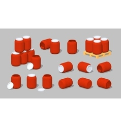 Cube world red plastic barrels vector