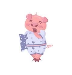 Cute pig character wearing pajamas yawning funny vector