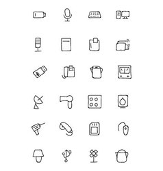 Electronics hand drawn doodle icons 3 vector