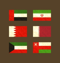 Flags of uae iran bahrain qatar kuwait and oman vector