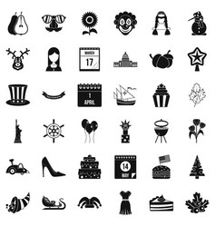 Folklore icons set simple style vector