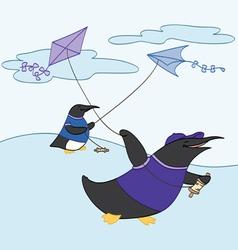 Friends Flying Kites vector image