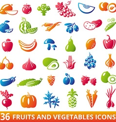 FruitsVegetablesSet vector image vector image