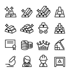 Gold icon set in thin line style vector