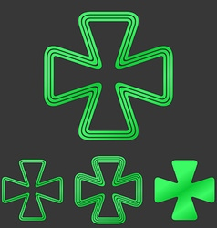 Green cloverleaf symbol icon design set vector image