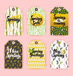 Hello spring gift labels vector