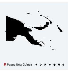 High detailed map of Papua New Guinea with pins vector image