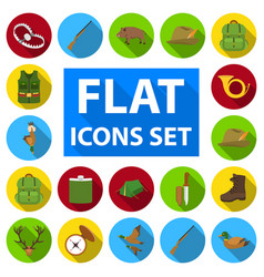 Hunting and trophy flat icons in set collection vector