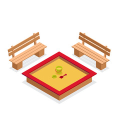 Isometric sandbox with toys and benches vector