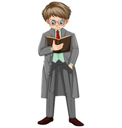 Man in overcoat reading book vector