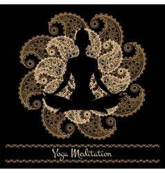 Mandala and meditation person yoga background vector image