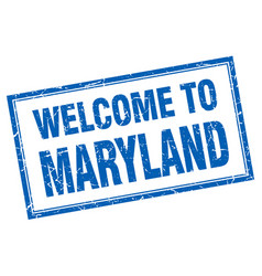 Maryland blue square grunge welcome isolated stamp vector
