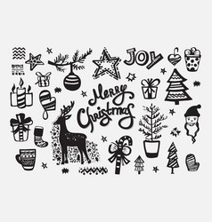 merry christmas collection handdrawn elements vector image vector image
