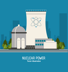 Nuclear plant power atom industry icon vector