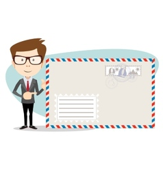 Office worker stands near a large mailer envelope vector