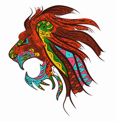 patterned head of the lion tattoo design zentangle vector image vector image