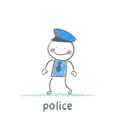 Police stand without moving vector image