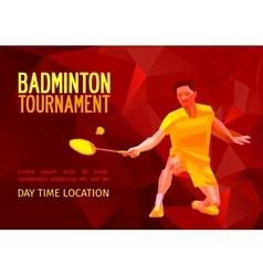 Polygonal badminton player sports poster vector image vector image