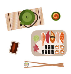 sushi and rolls set vector image