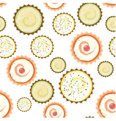 Sweet cape cakes pattern on white background vector