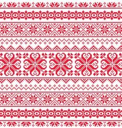 Ukrainian belarusian red embroidery seamless patt vector