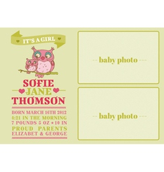 Baby arrival card with cute owl vector