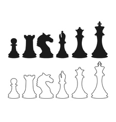 chess figures silhouette vector image