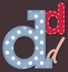 Set of stitched font - Letter D vector image