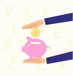 Hand holding piggy bank with coin vector