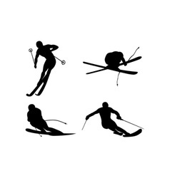 Skiing silhouette vector