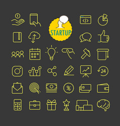 Different startup icons collection web and mobile vector