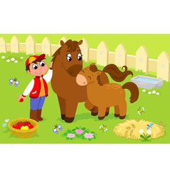 Boy with cute horse and colt vector